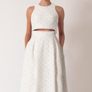 Adorable white two piece skirt and top